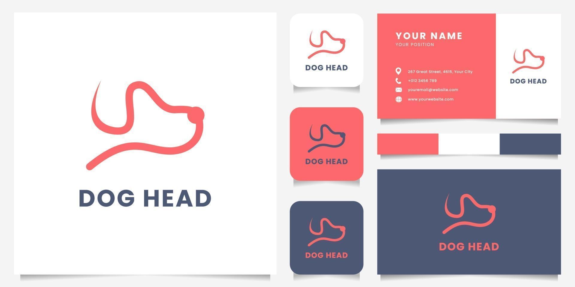 logo tête de chien ligne simple et minimaliste avec modèle de carte de visite vecteur