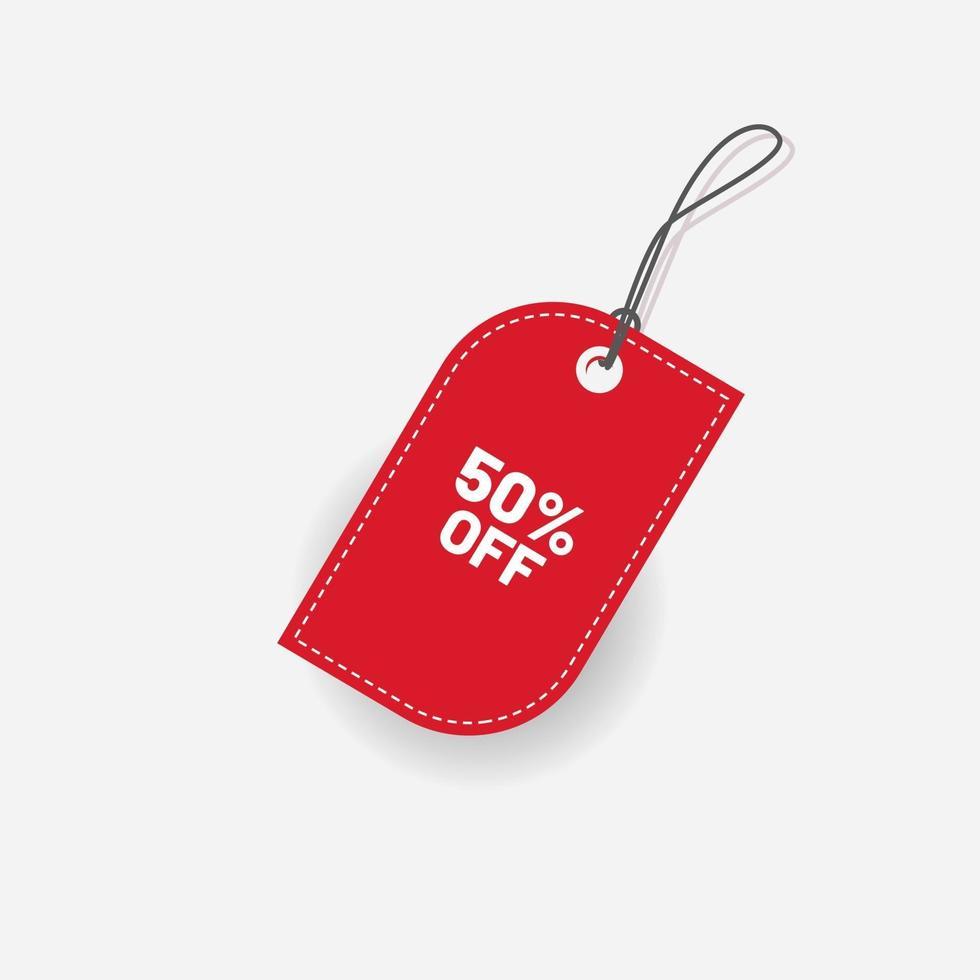 étiquette de réduction rouge 50 sur le vecteur de l'étiquette