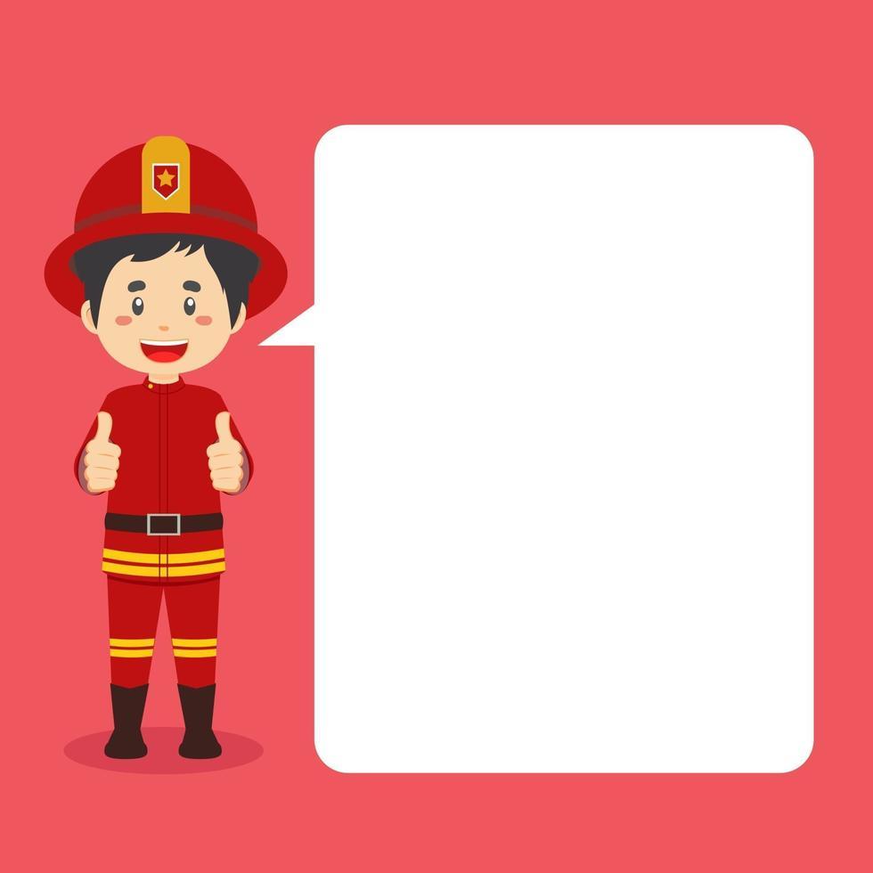 personnage de pompiers faisant le pouce vers le haut avec bulle de dialogue vecteur