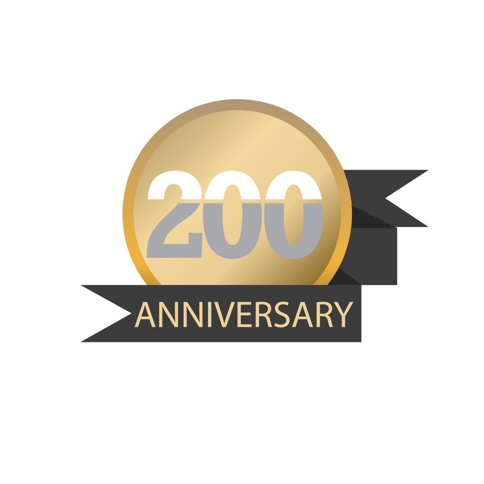 Illustration de conception de modèle de logo vectoriel anniversaire 200 ans