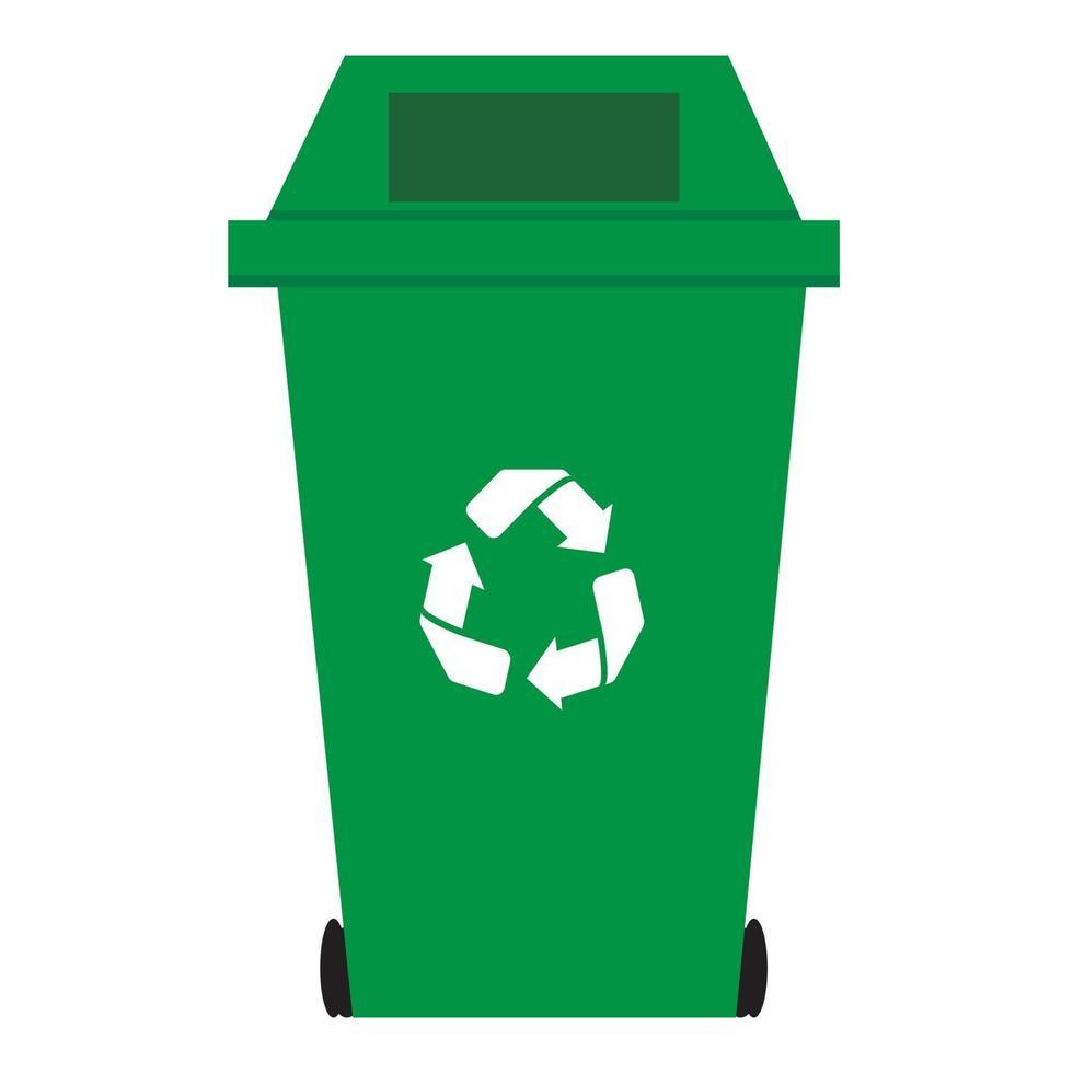 recycler le vecteur de bac vert isolé sur fond blanc.
