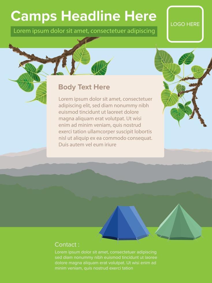 modèle de flyer de camp sur le vecteur graphique illustration