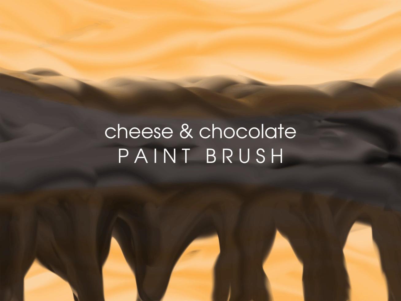 Modèle de fond de nourriture au fromage fondu et au chocolat avec un pinceau vecteur