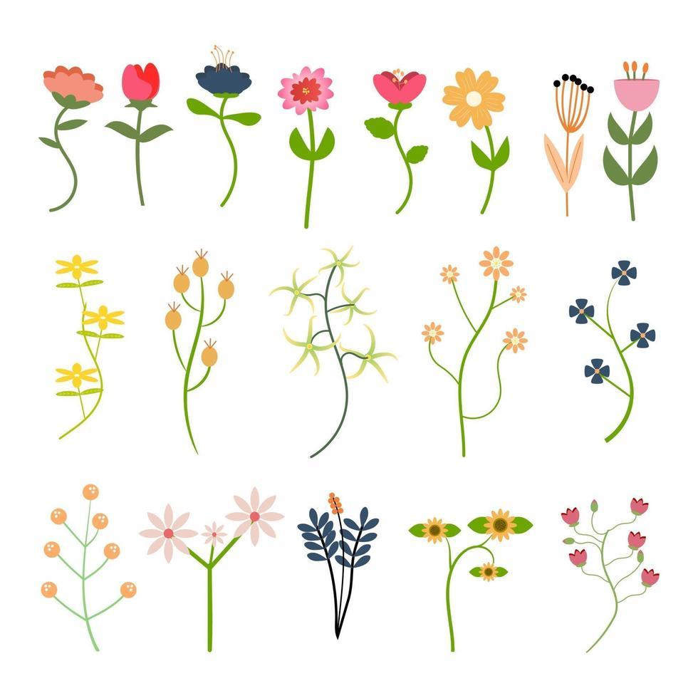 collection d'éléments floraux colorés et de formes variées vecteur