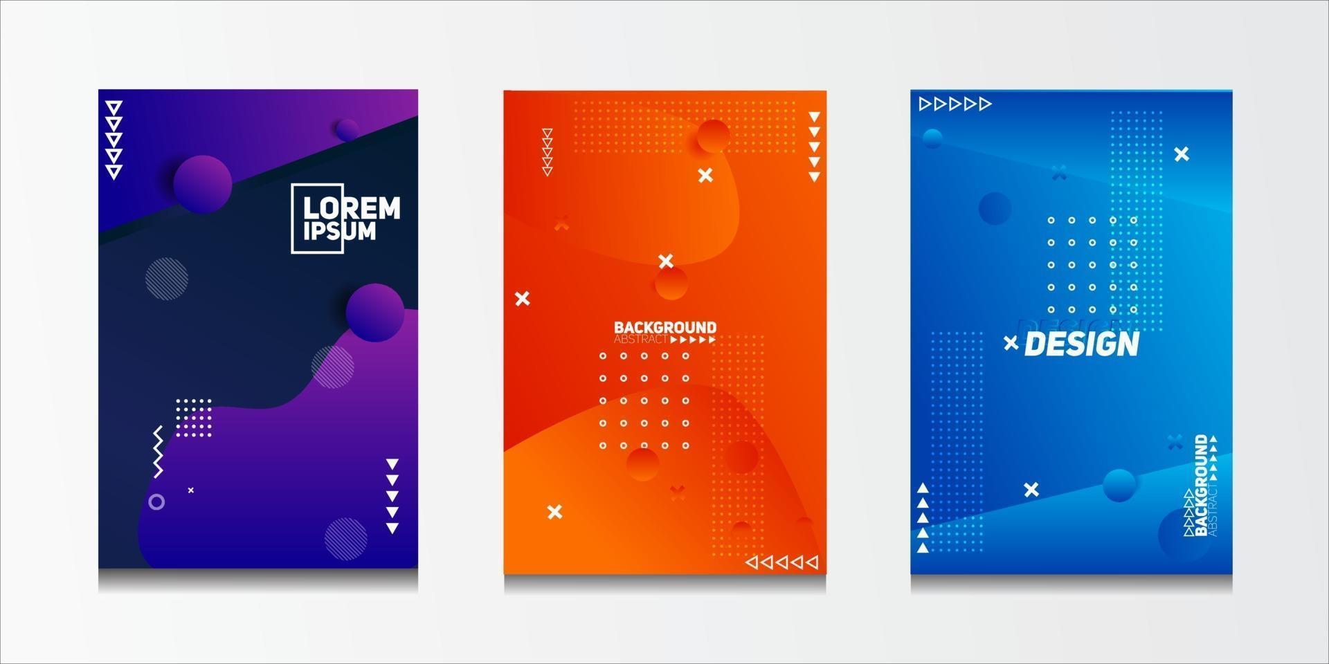 ensemble de fond de motifs géométriques abstraits avec des motifs de lignes et de demi-teintes pour les conceptions de couverture de brochure d'entreprise. vecteur