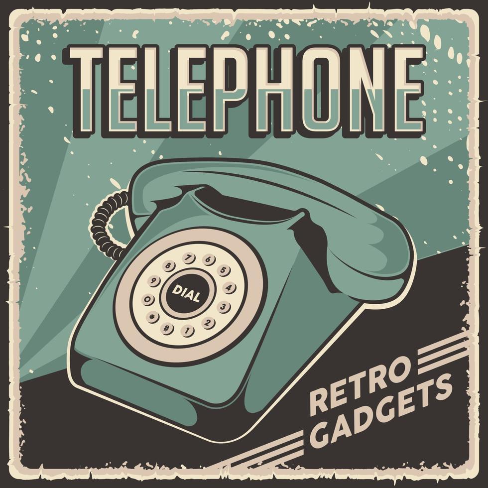 affiche de signalisation téléphonique rétro classique de gadgets vintage vecteur