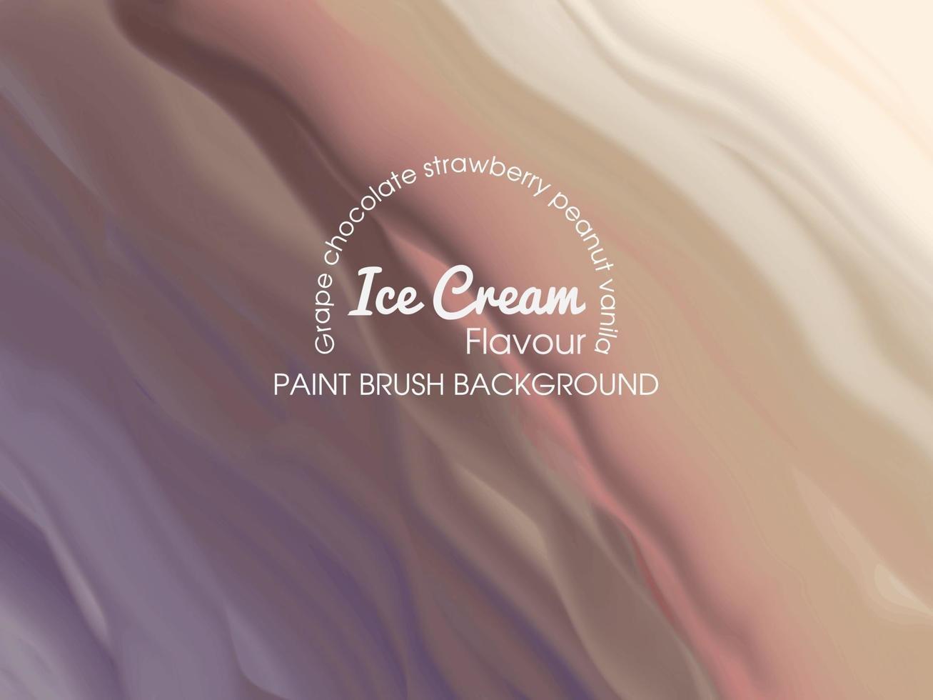 modèle de fond de crème glacée avec plusieurs saveurs avec pinceau vecteur
