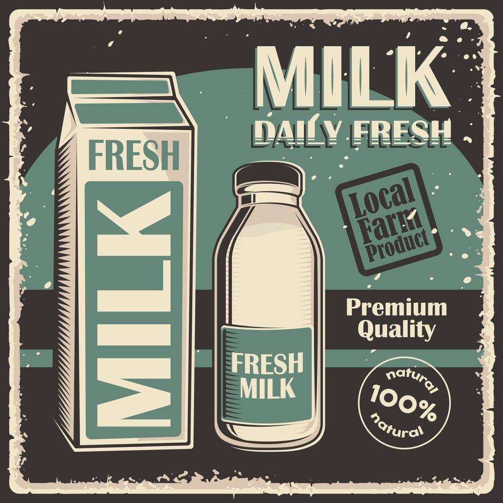 affiche de signalisation classique vintage rétro lait vecteur