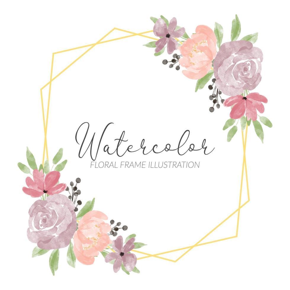 cadre rustique floral aquarelle rose pivoine pastel vecteur