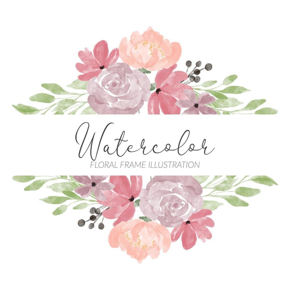 illustration de cadre aquarelle fleur rose vecteur