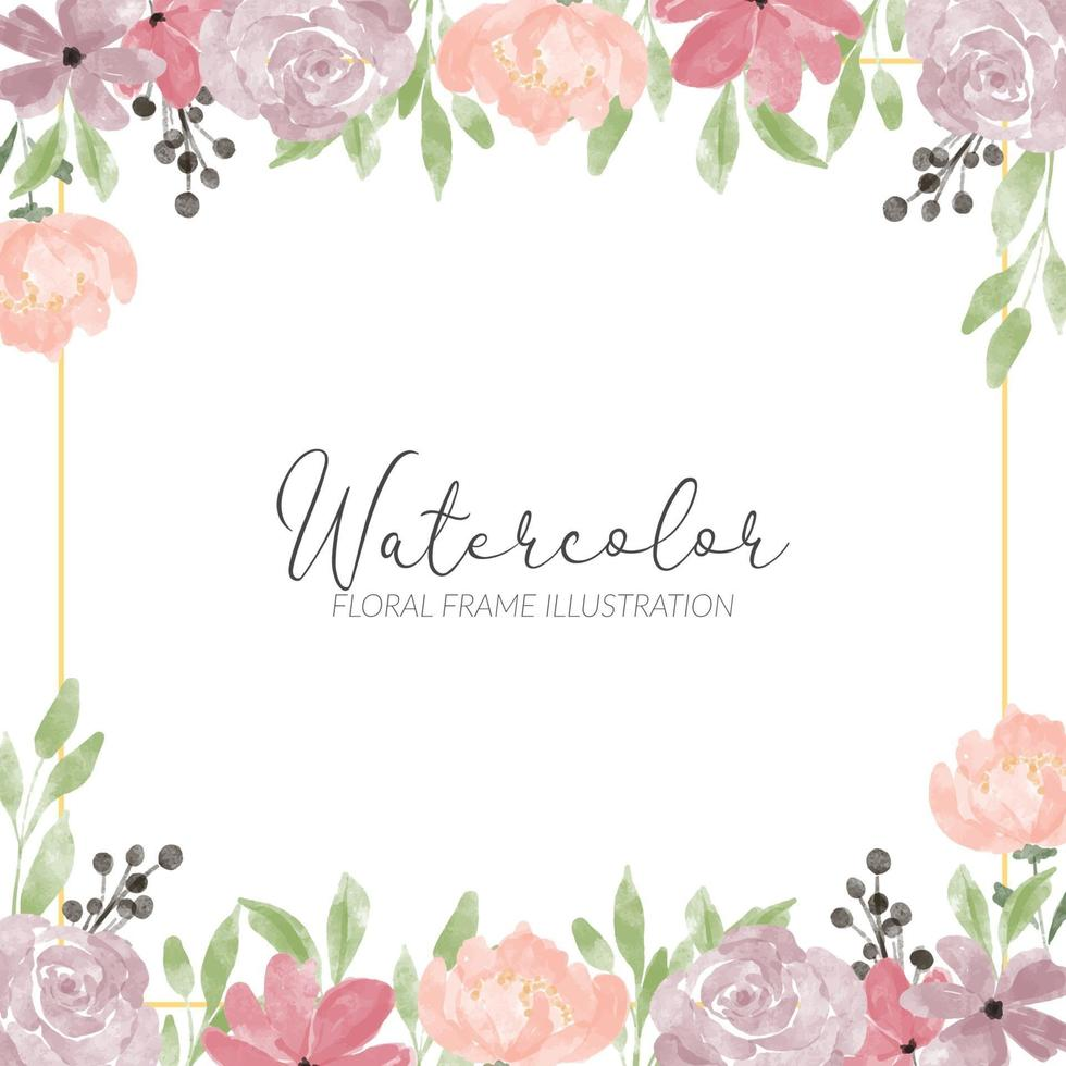 cadre carré aquarelle fleur rose mignonne vecteur