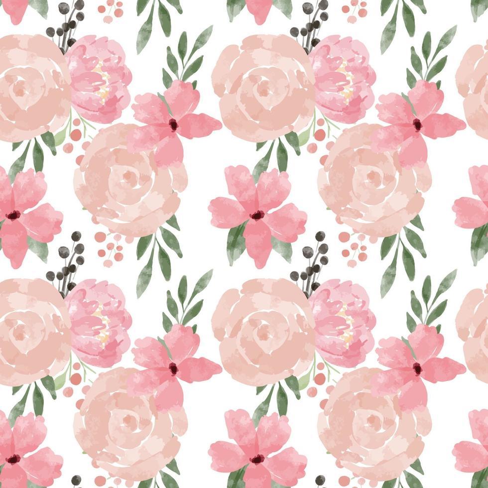 style aquarelle transparente motif fleur rose vecteur
