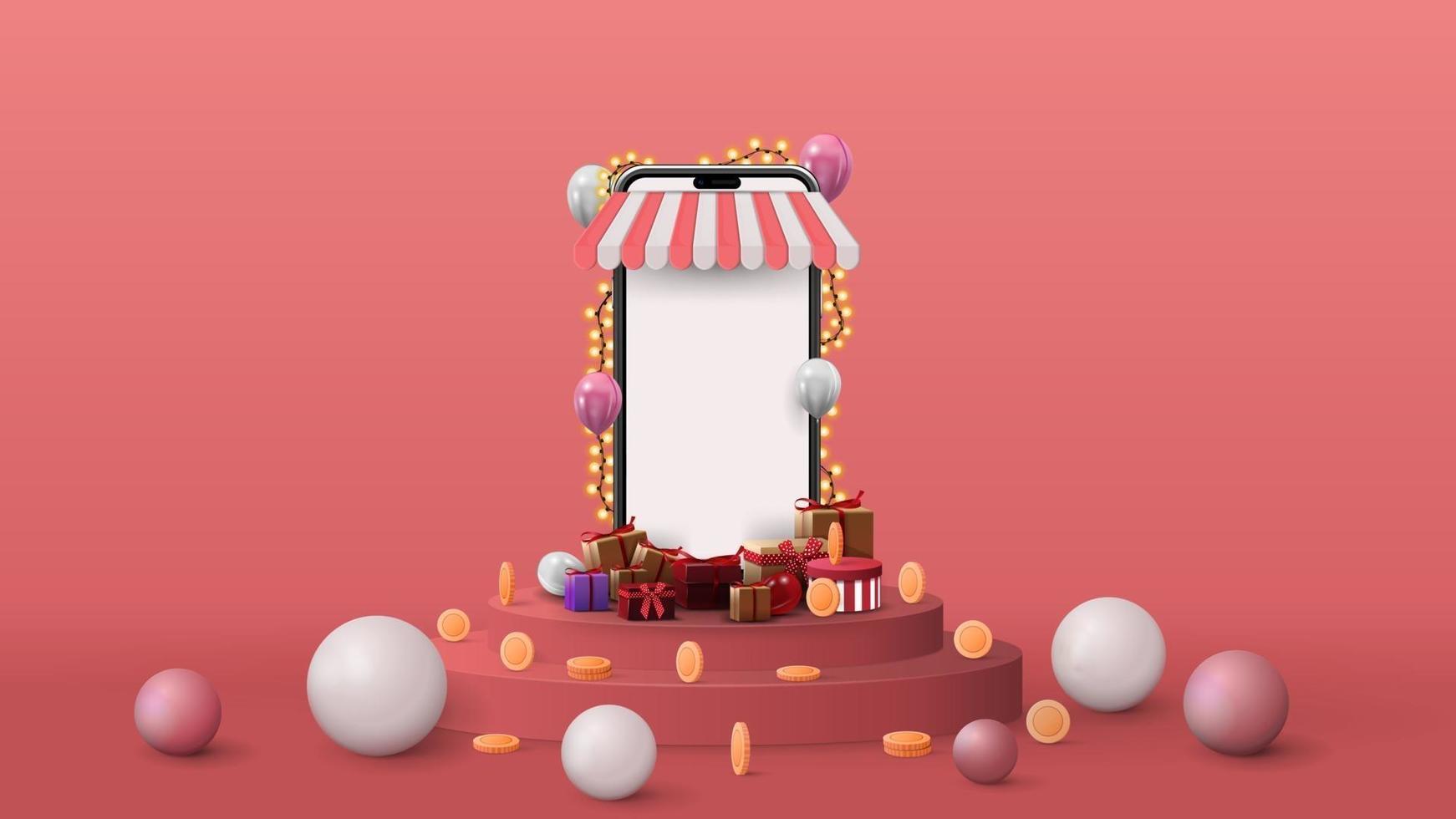 modèle avec smartphone volumétrique avec écran blanc, cadeaux, pièces de monnaie et sphères 3d sur podium rose. Illustration de rendu 3D avec scène abstraite rose vecteur