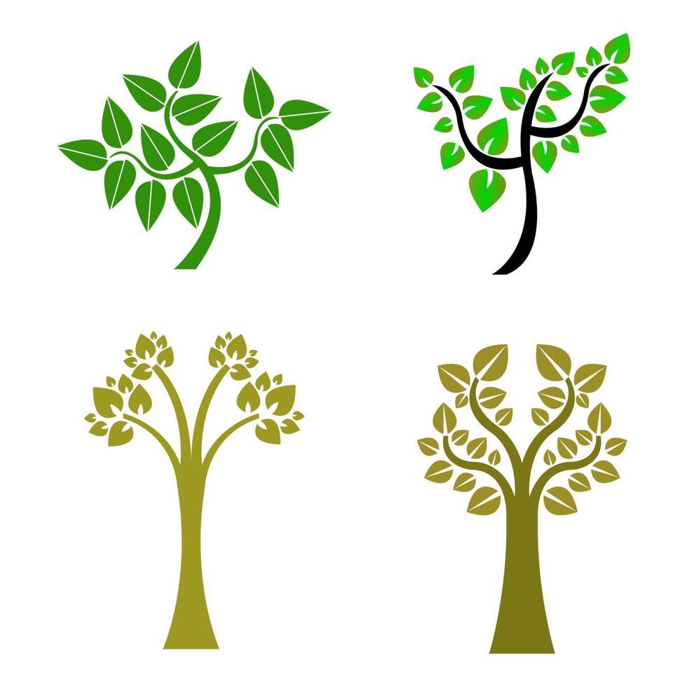 ensemble d & # 39; arbre sur fond blanc vecteur