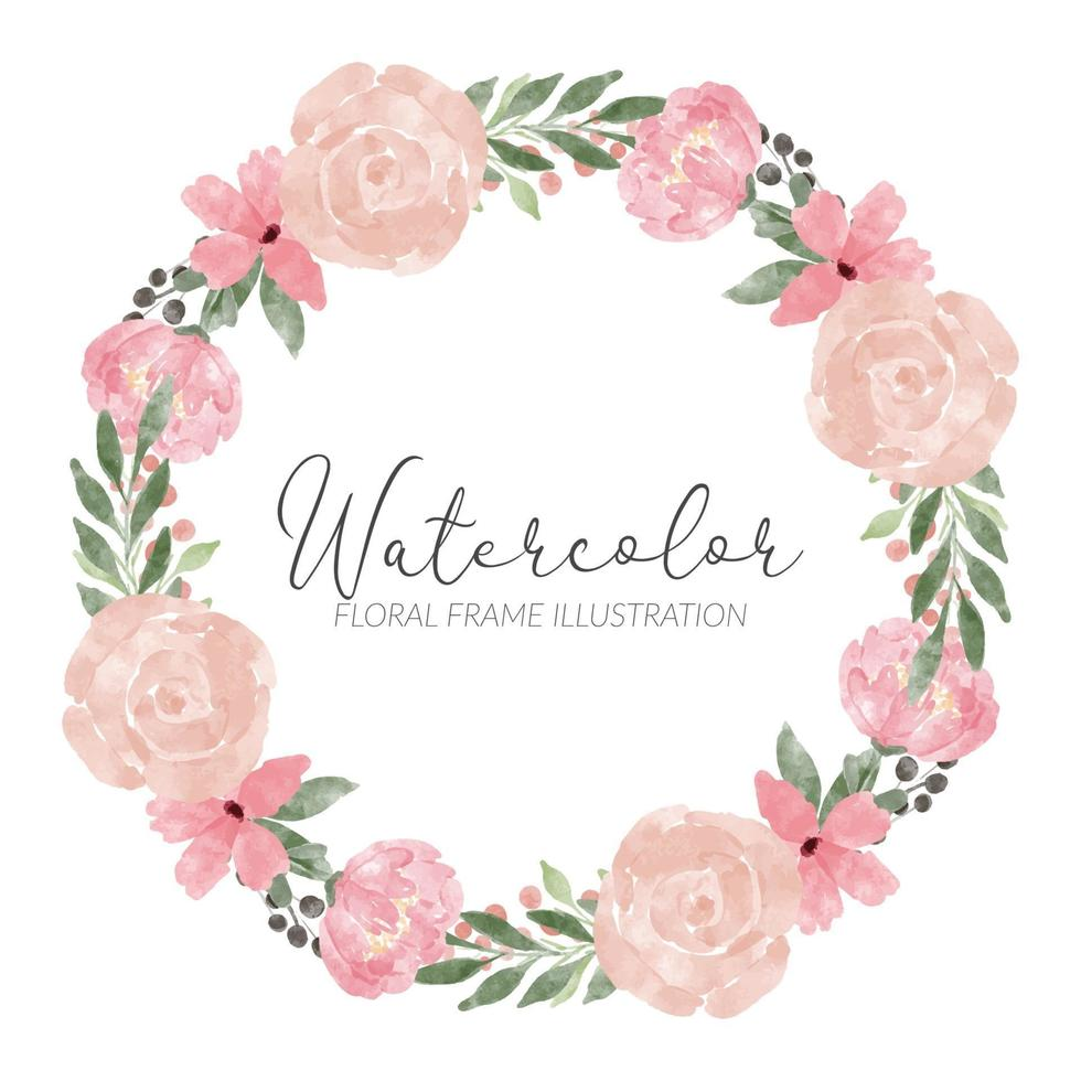 couronne de cercle aquarelle rose arrangement de fleurs vecteur