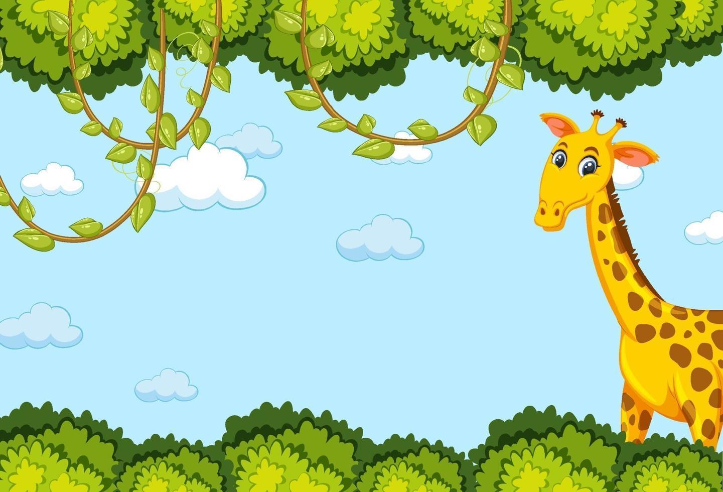 personnage de dessin animé de girafe avec cadre de feuilles de forêt vecteur