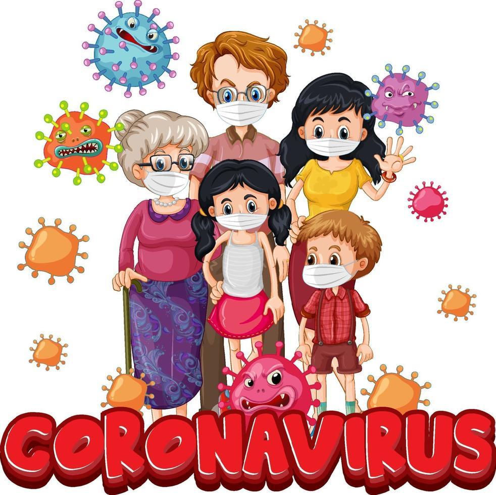 membres de la famille portant un masque avec une police de coronavirus vecteur