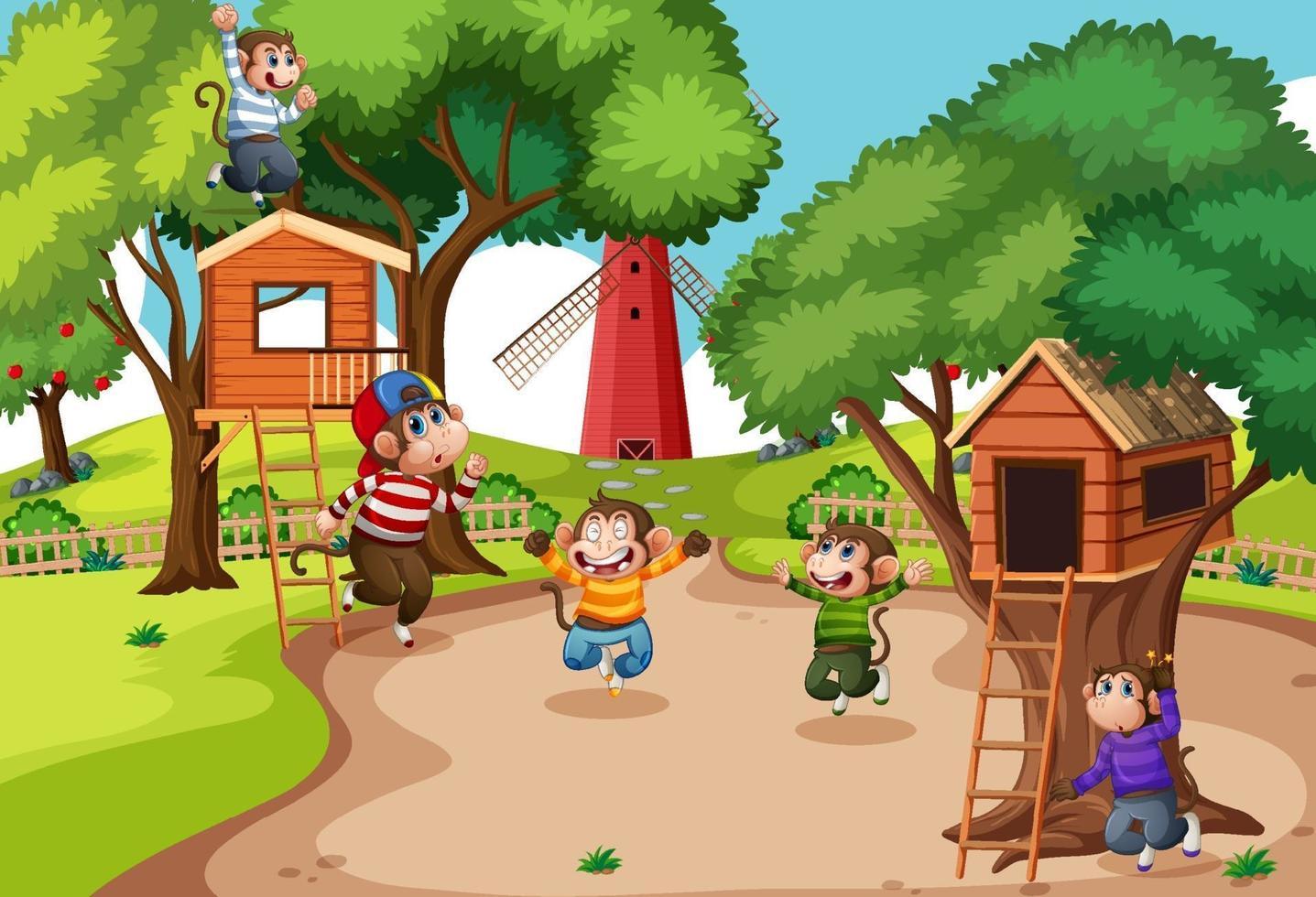 cinq petits singes sautant dans la scène de l'aire de jeux du parc vecteur