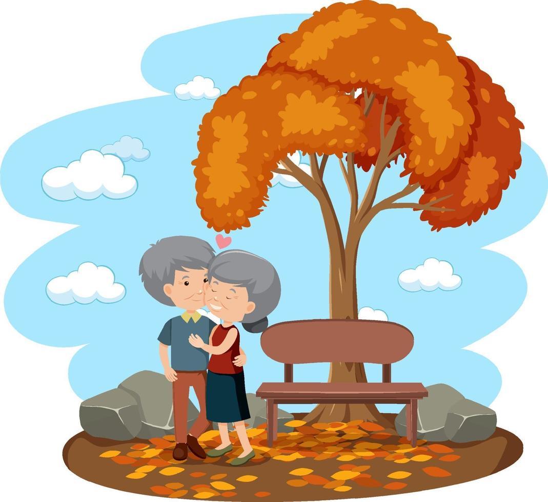vieux couple amoureux dans le parc isolé vecteur