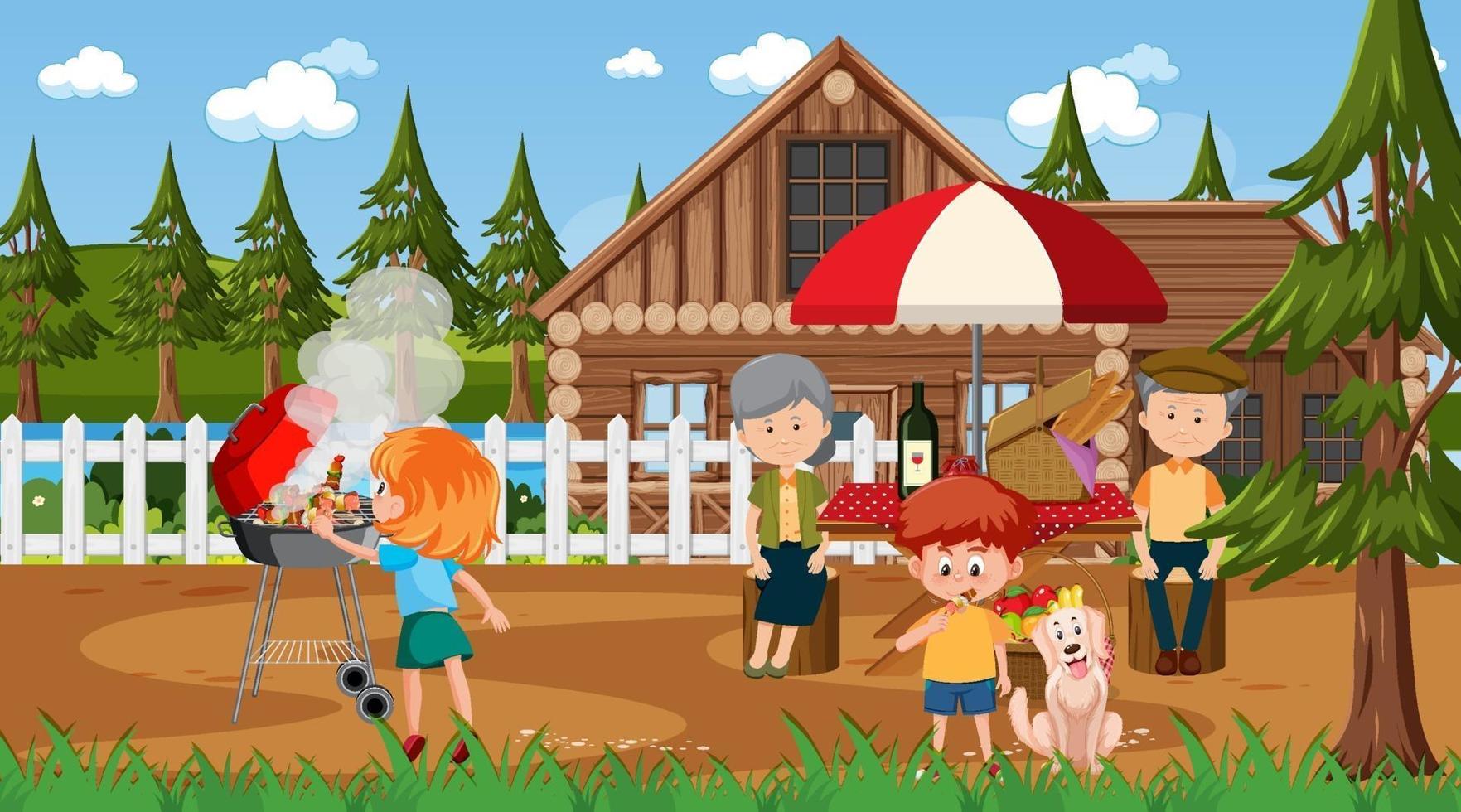 scène en plein air de la nature avec une famille heureuse ayant un pique-nique vecteur