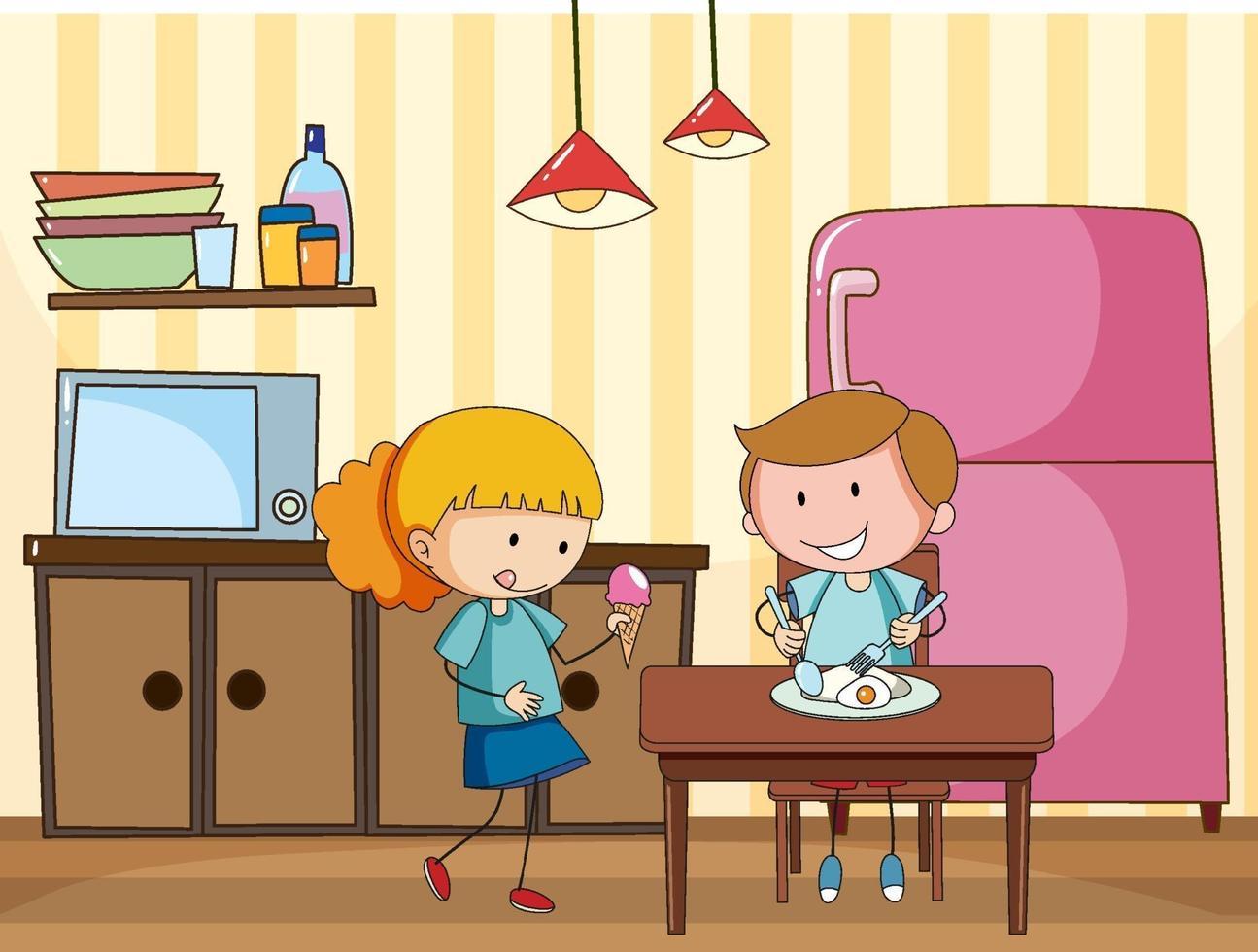 petits enfants dans la scène de la cuisine avec des équipements vecteur
