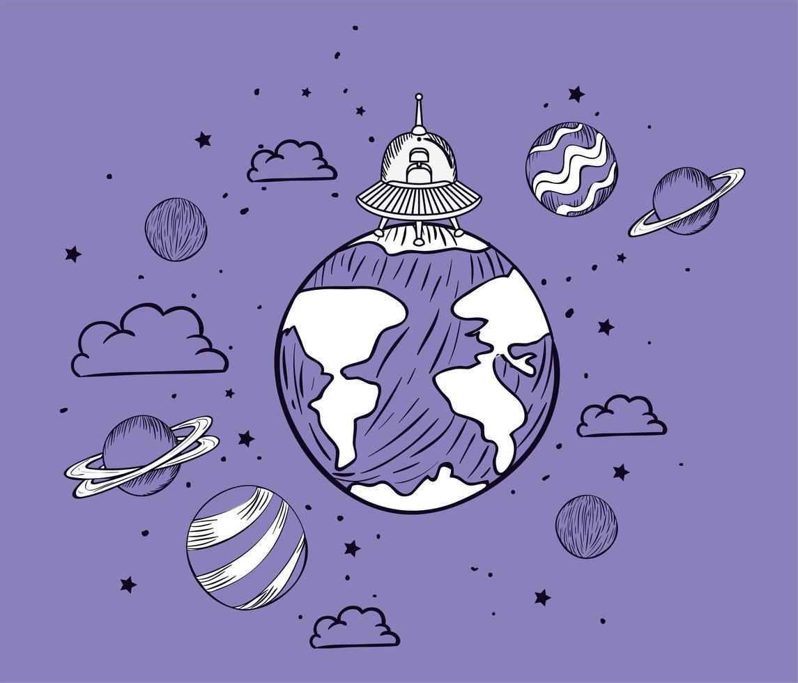 conception de dessin d'ovni et de planète vecteur