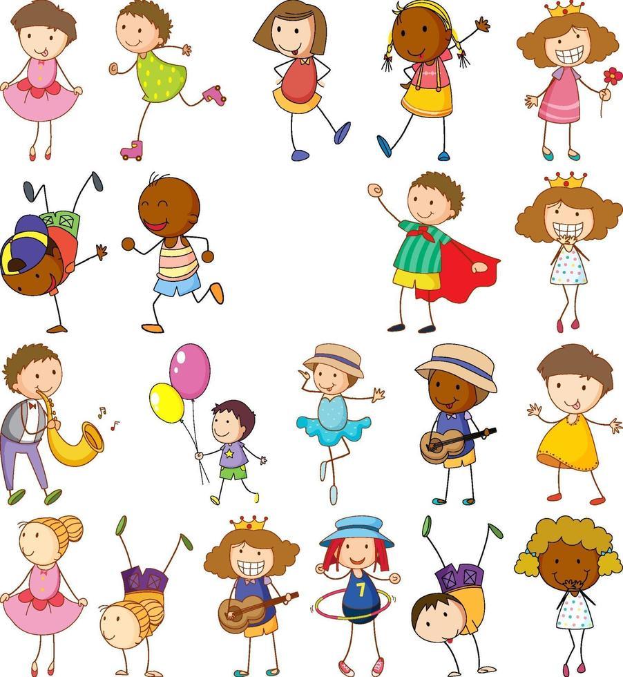 ensemble d & # 39; enfants différents dans un style doodle vecteur