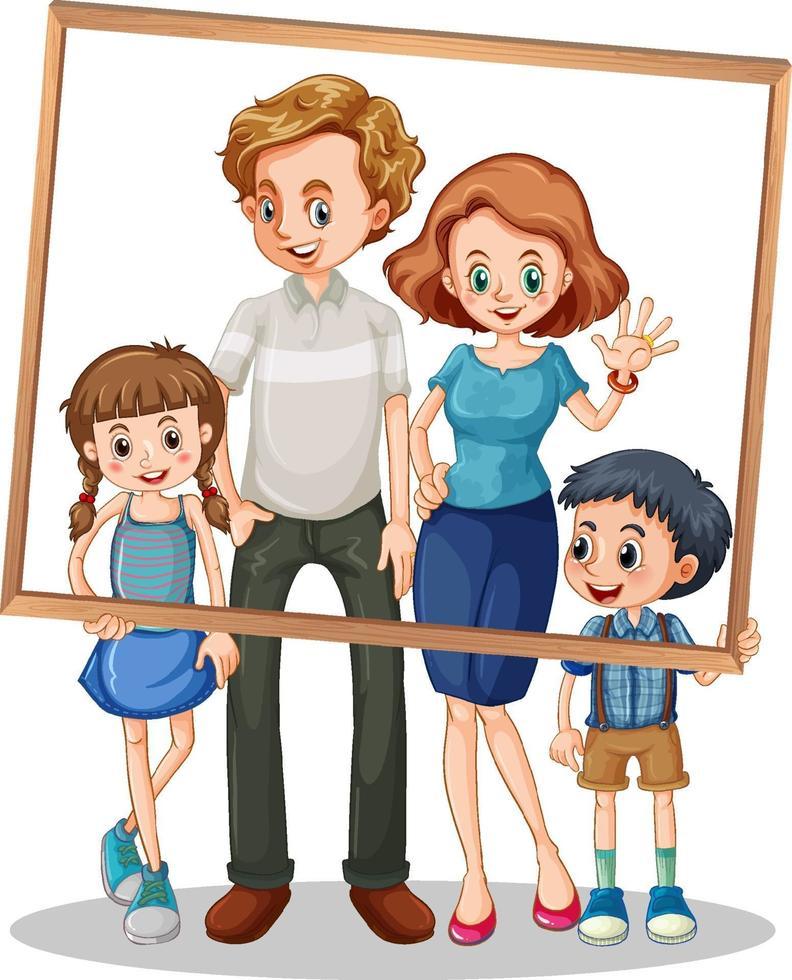 photo de famille isolée avec cadre photo vecteur