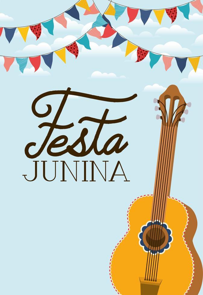 festa junina avec instrument de guitare vecteur