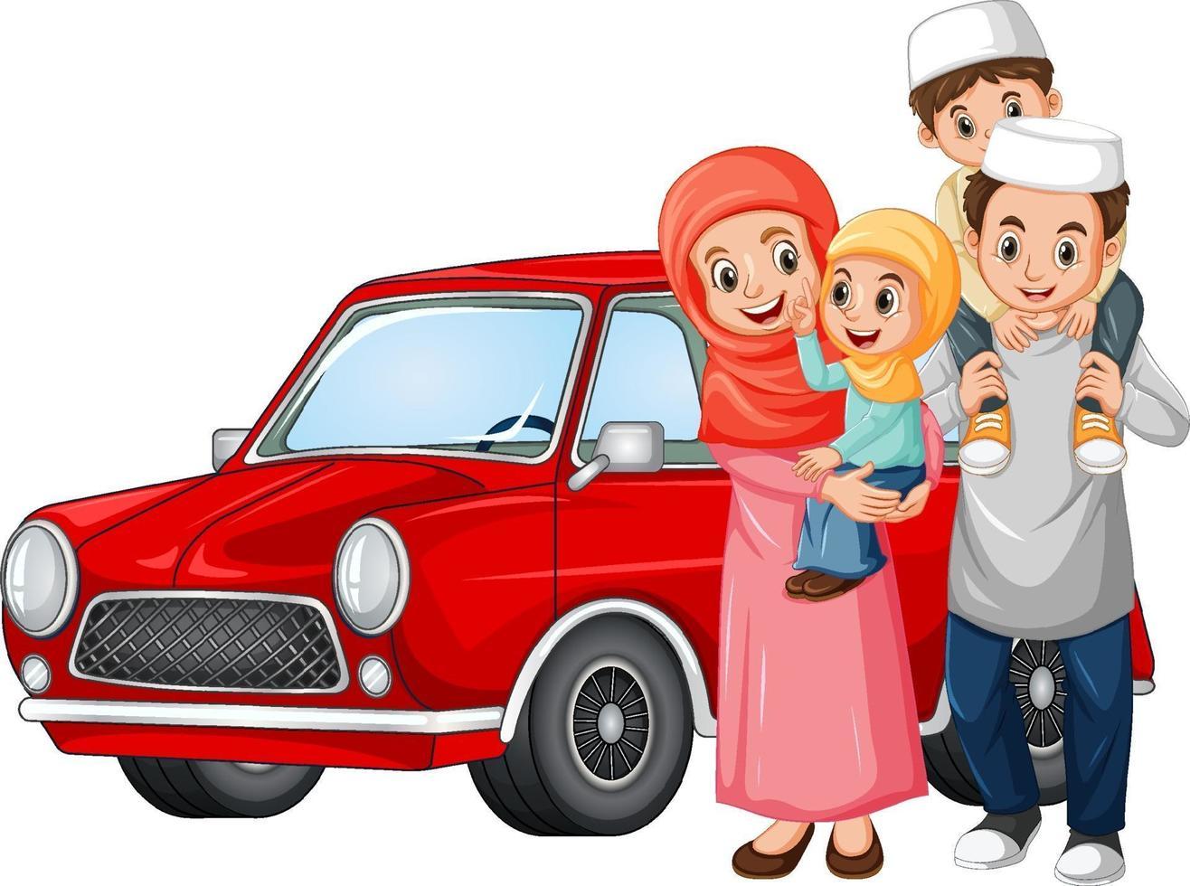 famille musulmane à côté de la voiture vecteur