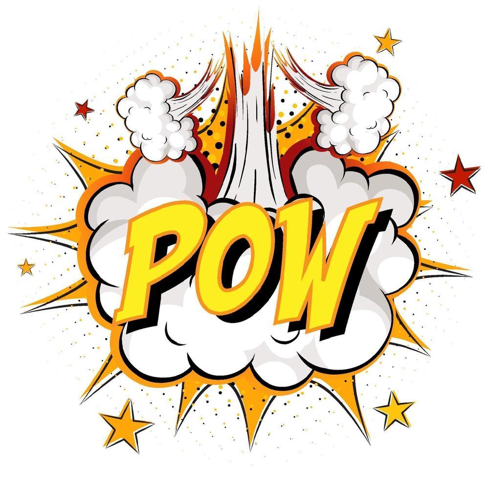 mot pow sur fond d'explosion de nuage comique vecteur