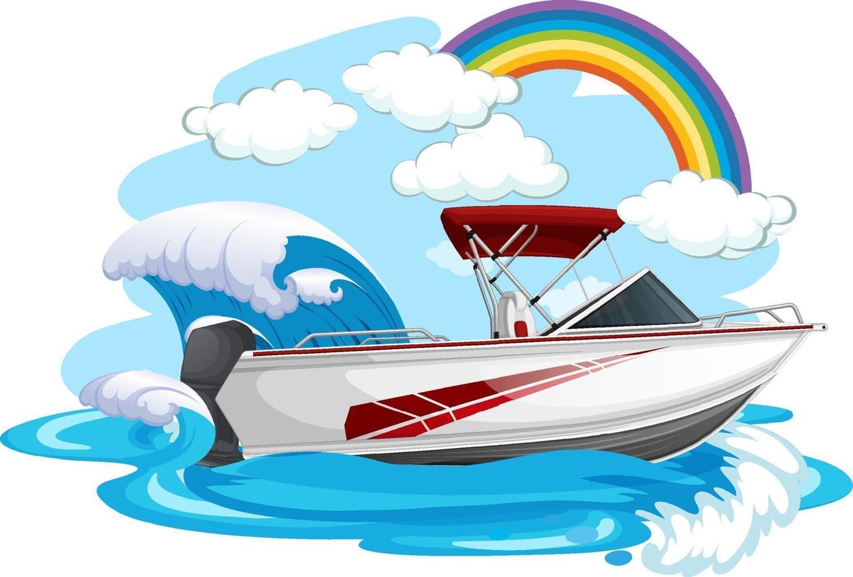 un bateau rapide dans la mer sur fond blanc vecteur