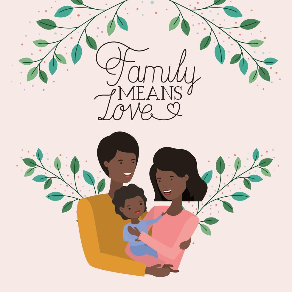 carte de fête de la famille avec les parents noirs et le fils vecteur
