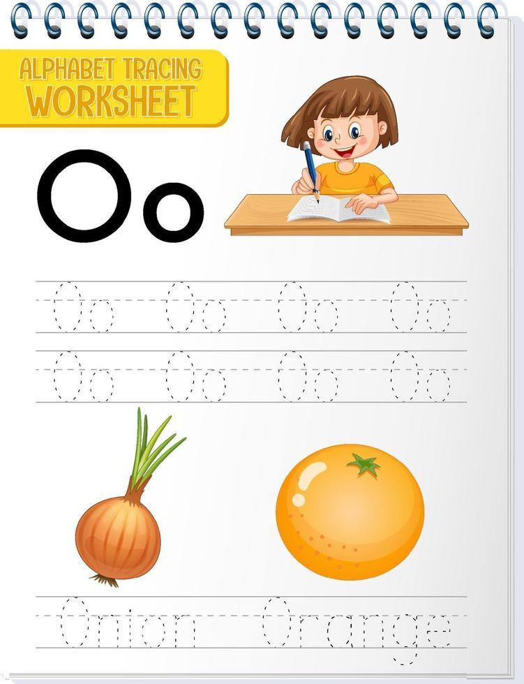 Feuille de calcul de traçage alphabet avec lettre o et o vecteur