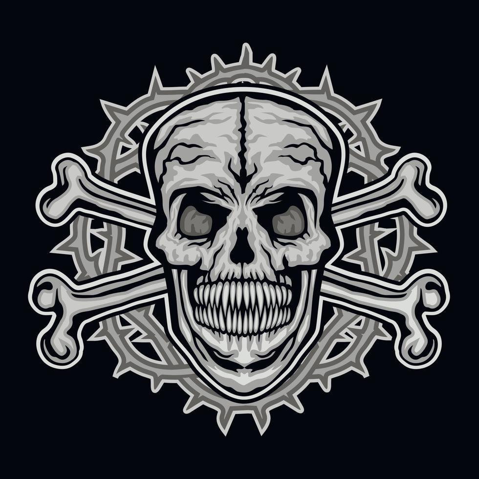 signe gothique avec crâne et os, t-shirts design vintage grunge vecteur