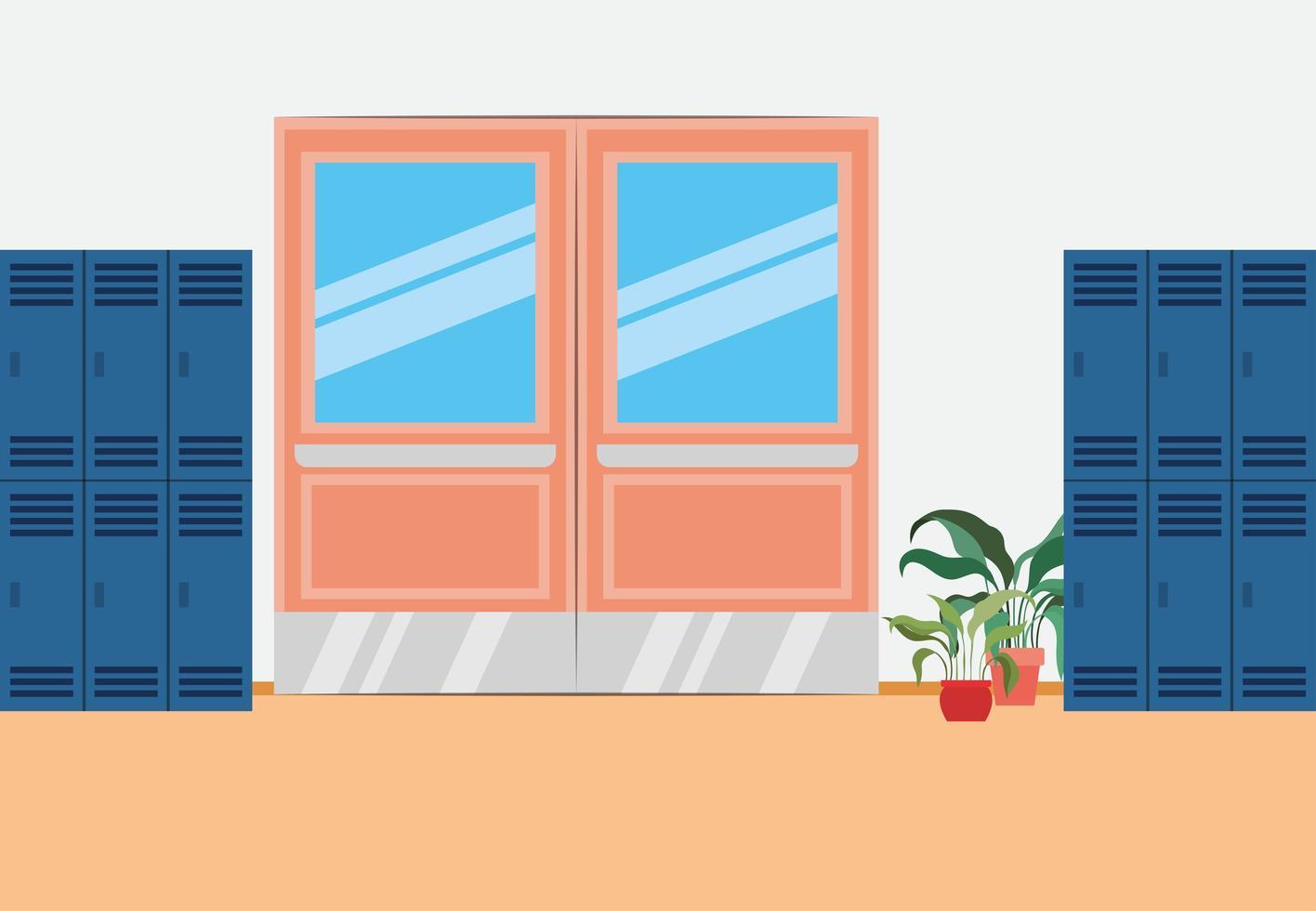 couloir d & # 39; école avec scène de casiers vecteur
