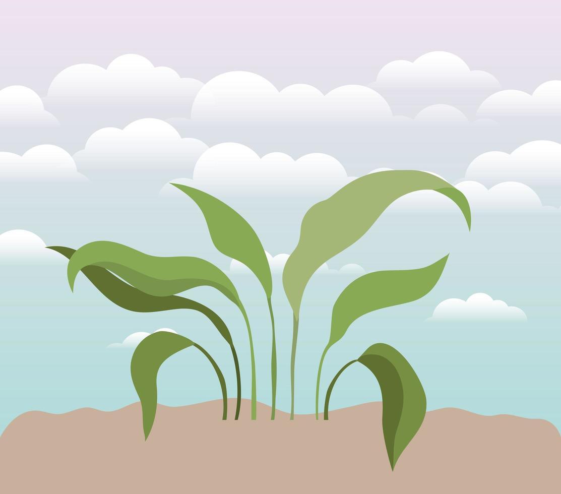 plante sur une scène de jardin vecteur