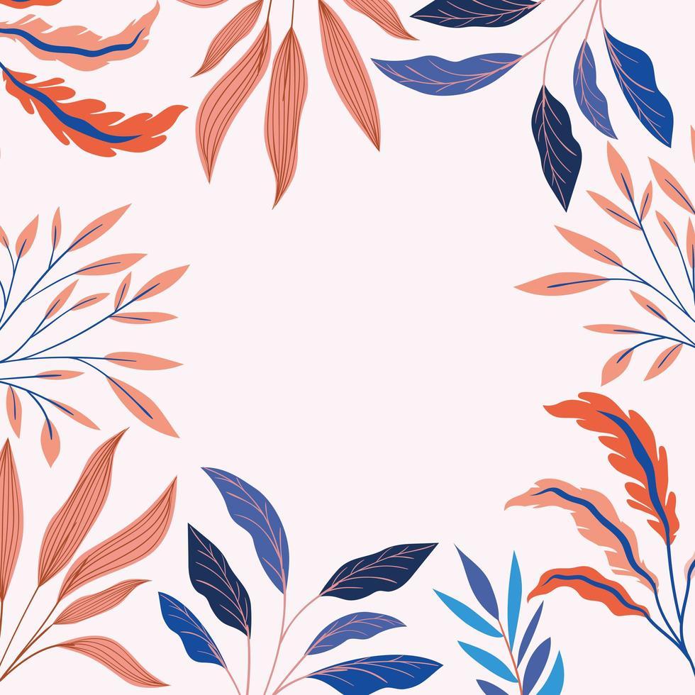 décoration de cadre naturel de feuilles colorées vecteur