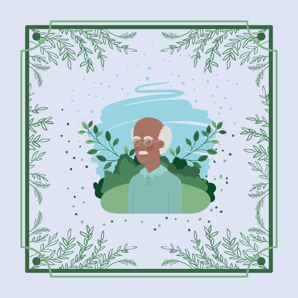 carte de vieil homme afro avec cadre à base de plantes vecteur