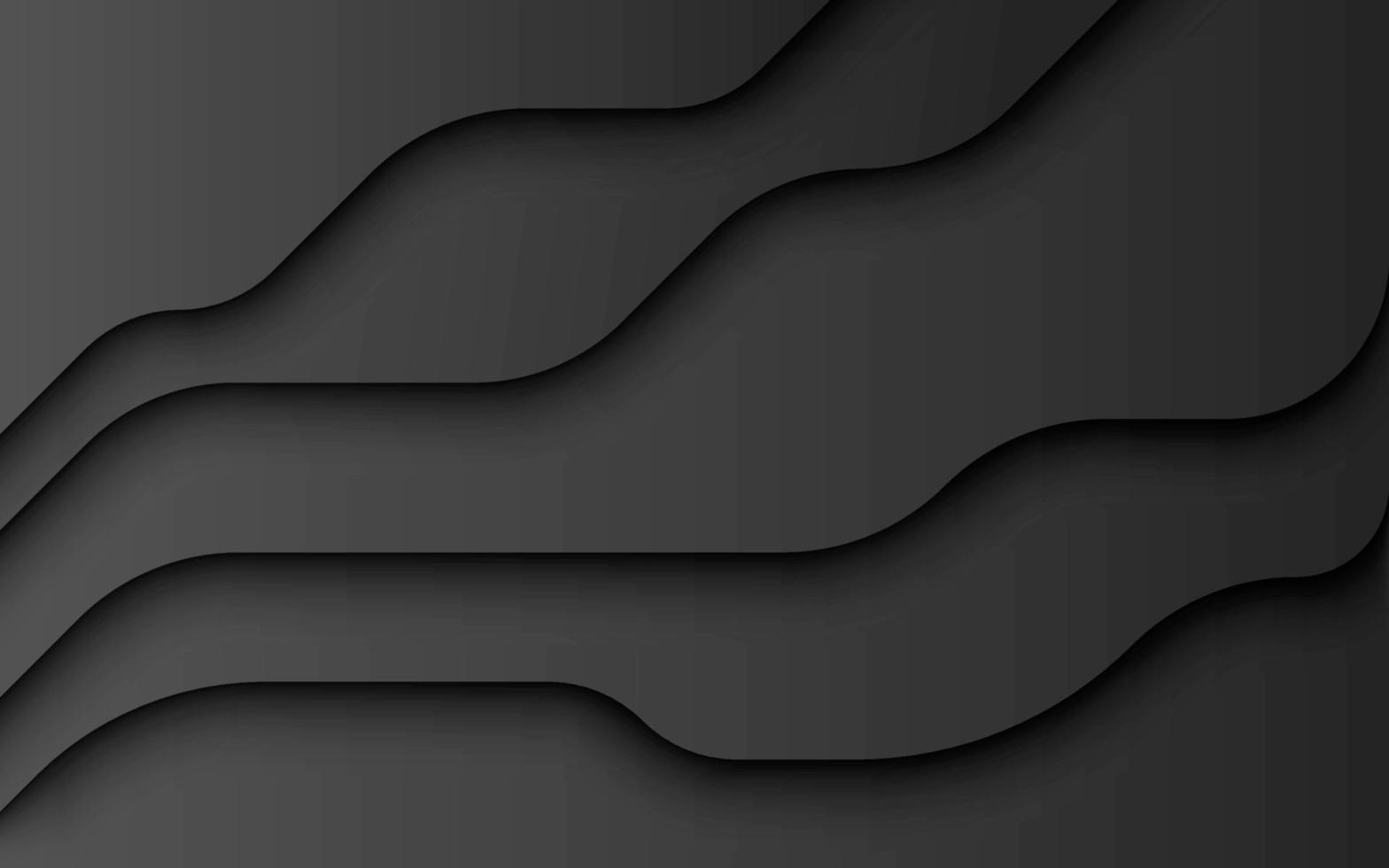 couches ondulées de vecteur de fond de papier noir
