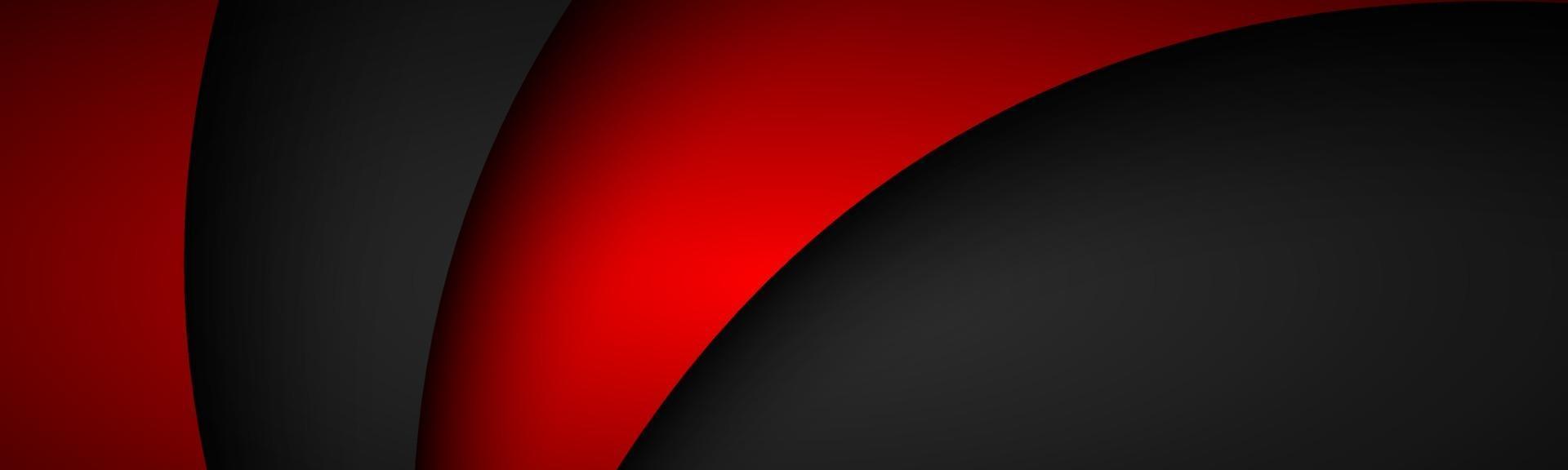 en-tête ondulé noir et rouge abstrait. bannière de conception d'entreprise moderne. chevauchement des feuilles de couches de papier vecteur