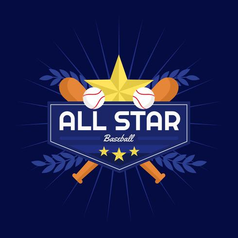 Insigne de vecteur de baseball All Star