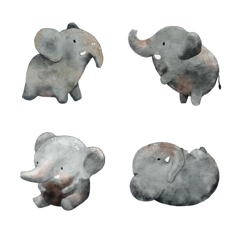 vecteur d'illustration aquarelle éléphant mignon.