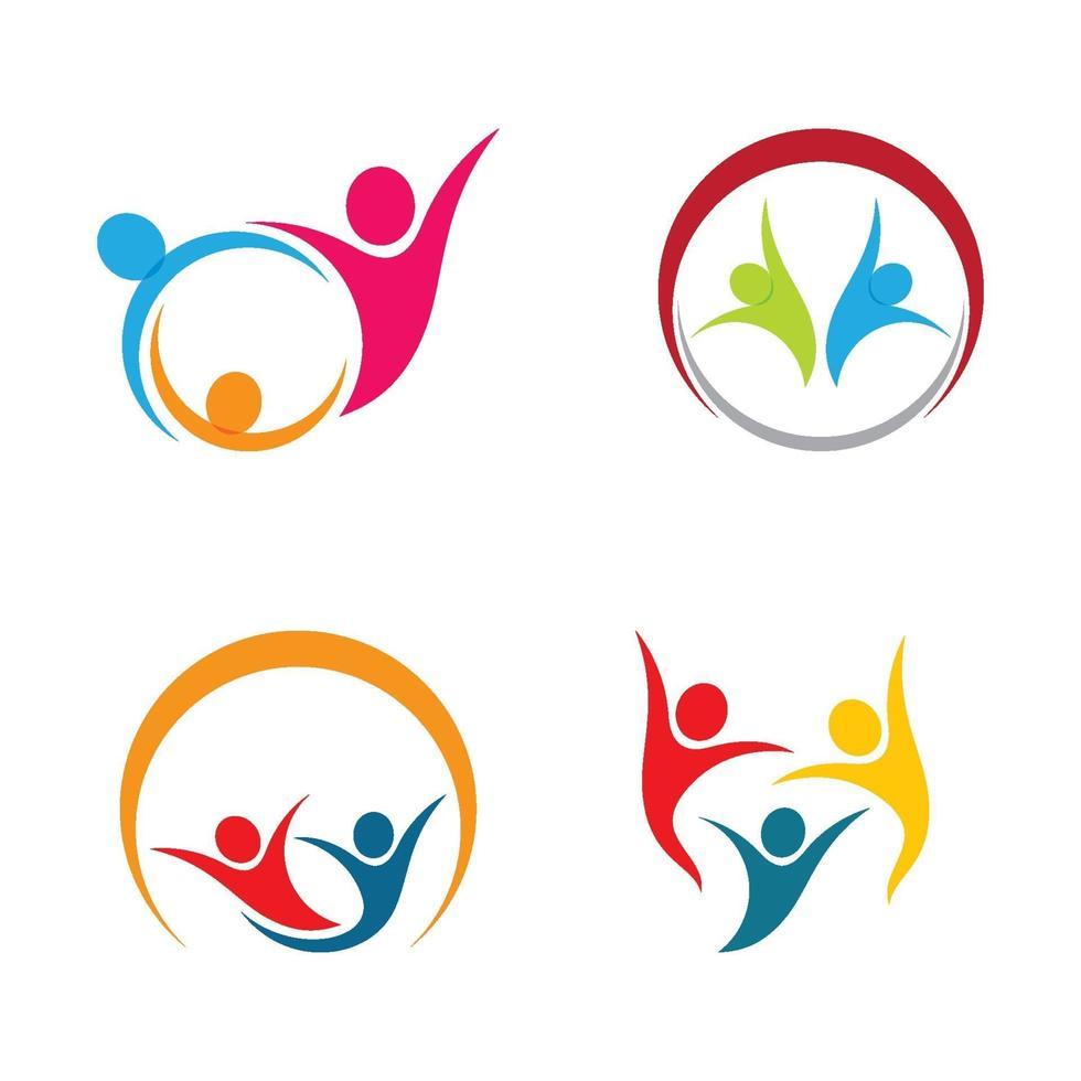 ensemble de conception d'images de logo de soins communautaires vecteur