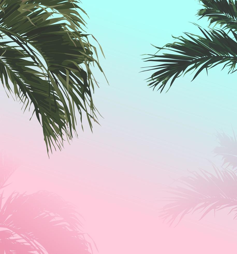 fond d'été pastel doux de palmier vecteur