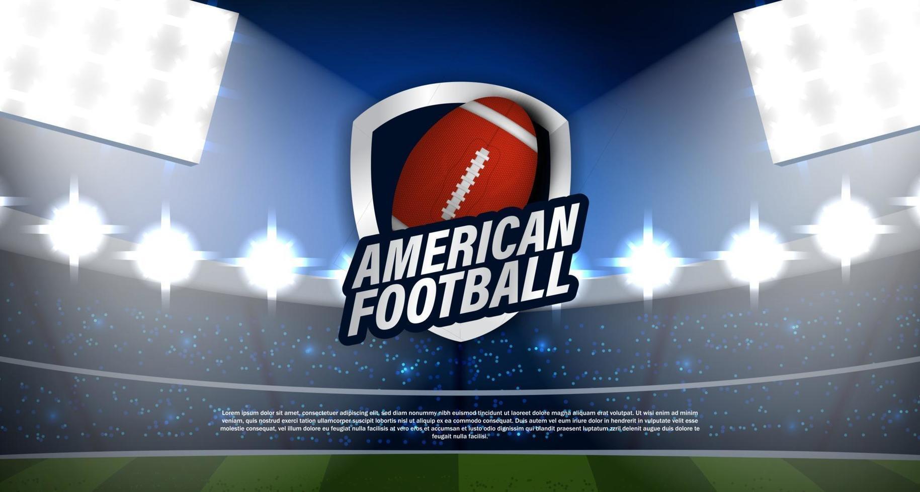 logo de rugby de football américain au stade vecteur