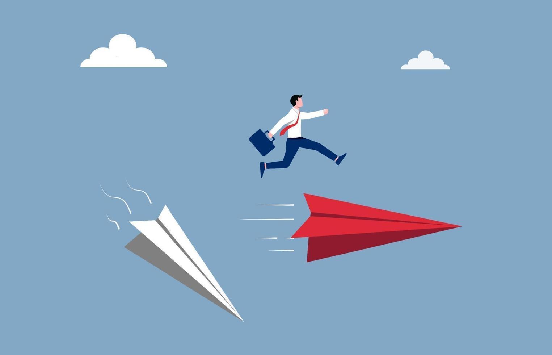 concept d'entreprise et de cheminement de carrière. homme d & # 39; affaires sauter par-dessus la nouvelle illustration d & # 39; avion en papier. vecteur