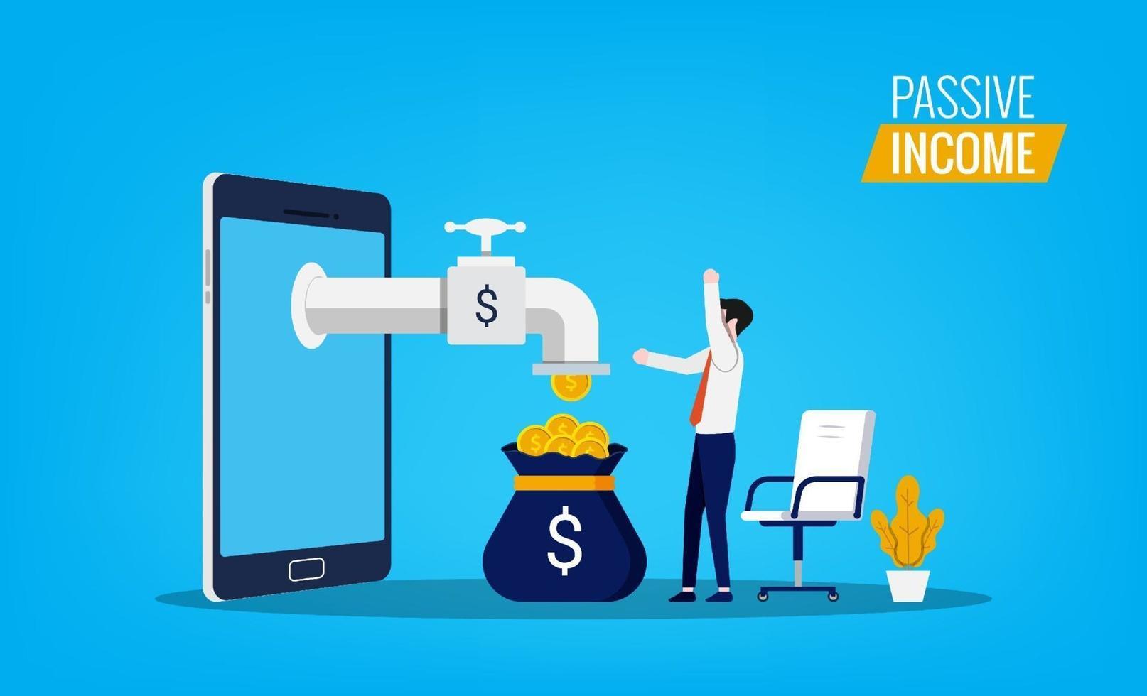 concept de revenu passif avec l'homme ressent de la joie et du bonheur tandis que l'argent coule du symbole du smartphone. vecteur