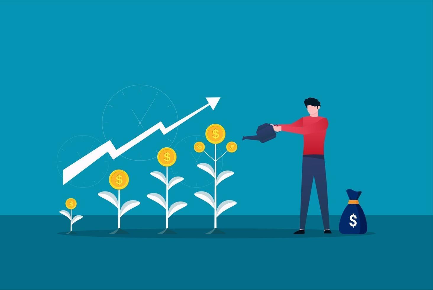 homme d'affaires arrose l'arbre d'argent grandir. illustration vectorielle de profit financier croissance. retour sur investissement avec symbole de flèche vecteur