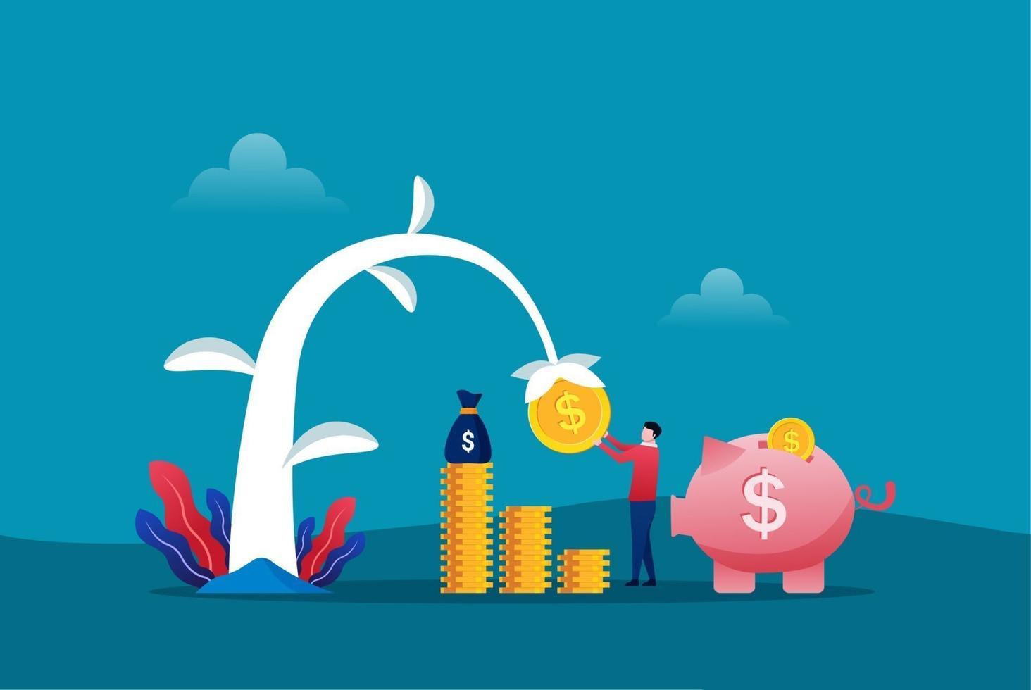 agriculteur plantant un arbre à argent et ramassant des dollars. croissance des bénéfices financiers et illustration vectorielle intelligente investir. retour sur investissement avec symbole tirelire vecteur
